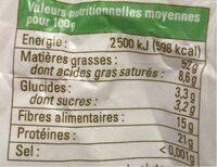 Graines bio tournesol décortiquées - Informations nutritionnelles - fr