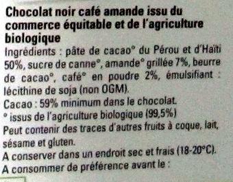 Chocolat noir café amande - Ingredients