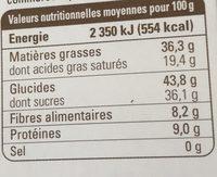 Chocolat noir café amande - Nutrition facts