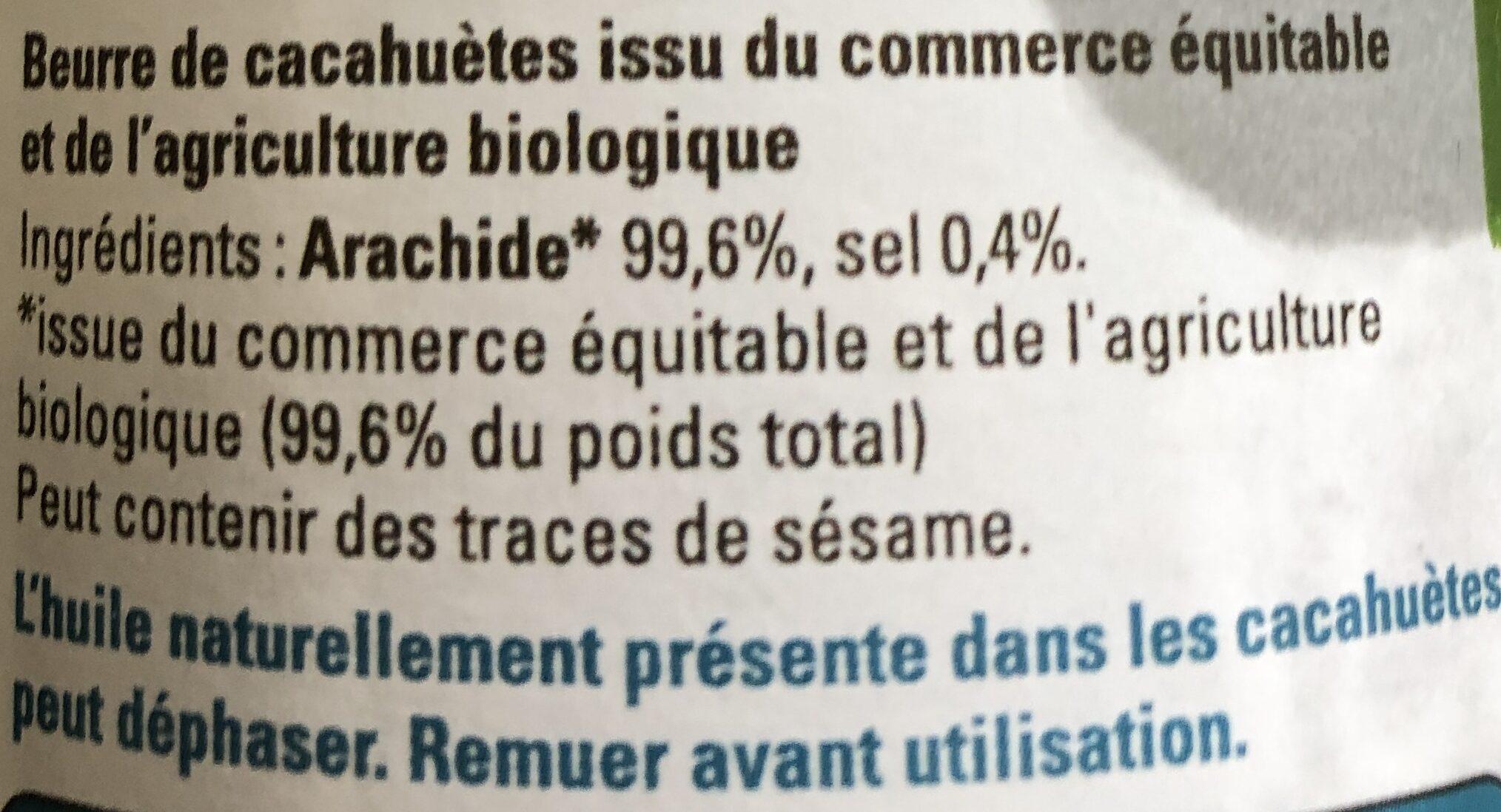 Beurre bio de cacahuètes - Ingredients - fr
