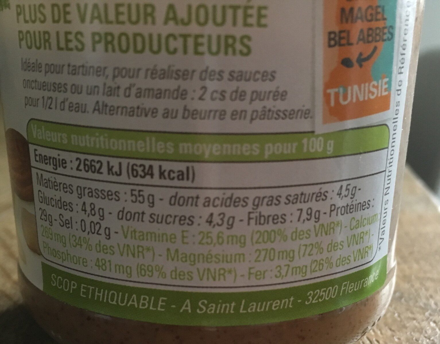 Puree D'amande Complete Tunisie - Valori nutrizionali - fr