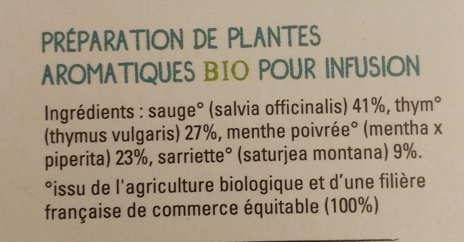 Infusion Bio Digestion - Ingrédients - fr