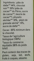 Pâte de datte et fruits séchés - Physalis Grenade - Ingrediënten