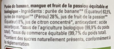 Compote Banane Mangue Passion - Ingredients