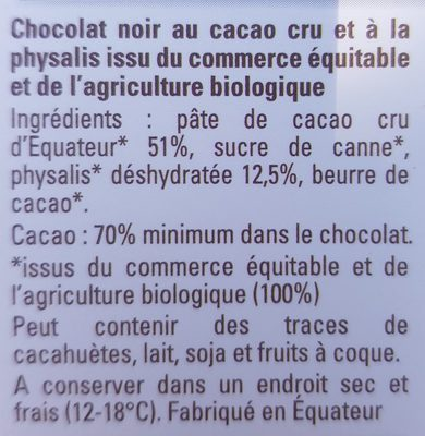 Cacao cru non torréfié physalis - Ingredients