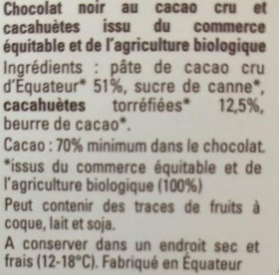 Chocolat noir Cacao cru cacahuètes - Ingredients