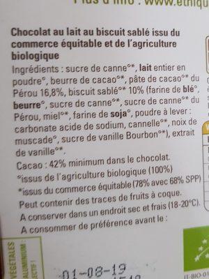 Chocolat lait Biscuit Sablé - Ingredients