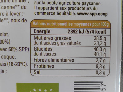 Chocolat lait Biscuit Sablé - Nutrition facts