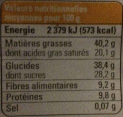 Chocolat noir amande physalis - Informations nutritionnelles