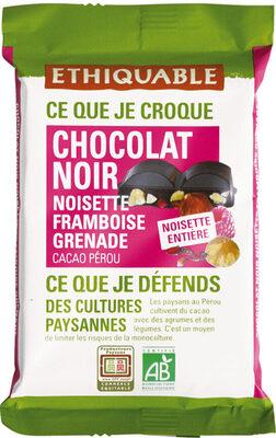 Chocolat noir 65% noisette entière, framboise et grenade - Product - fr