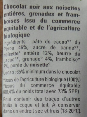 Chocolat noir 65% noisette entière, framboise et grenade - Ingredients - fr