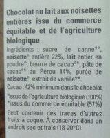 Chocolat lait 42% noisettes entières - Ingredients - fr