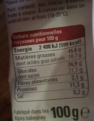 Chocolat lait 42% noisettes entières - Nutrition facts - fr