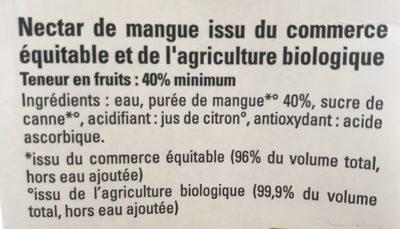 Mangue Pérou Madagascar - Ingredientes