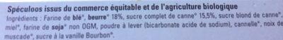 Speculoos Au Sucre Complet De Canne Bio & équitable - Ingrediënten