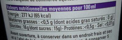 Pur jus de raisin Bio - Informação nutricional - fr