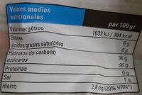 Azúcar de caña integral ecológica - Información nutricional - es
