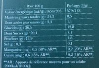 Paléo Bars Camomille, Ortie, Noix du Brésil - Informations nutritionnelles