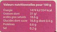 MOUSSE CHOCOLAT NOIR - Voedingswaarden - fr