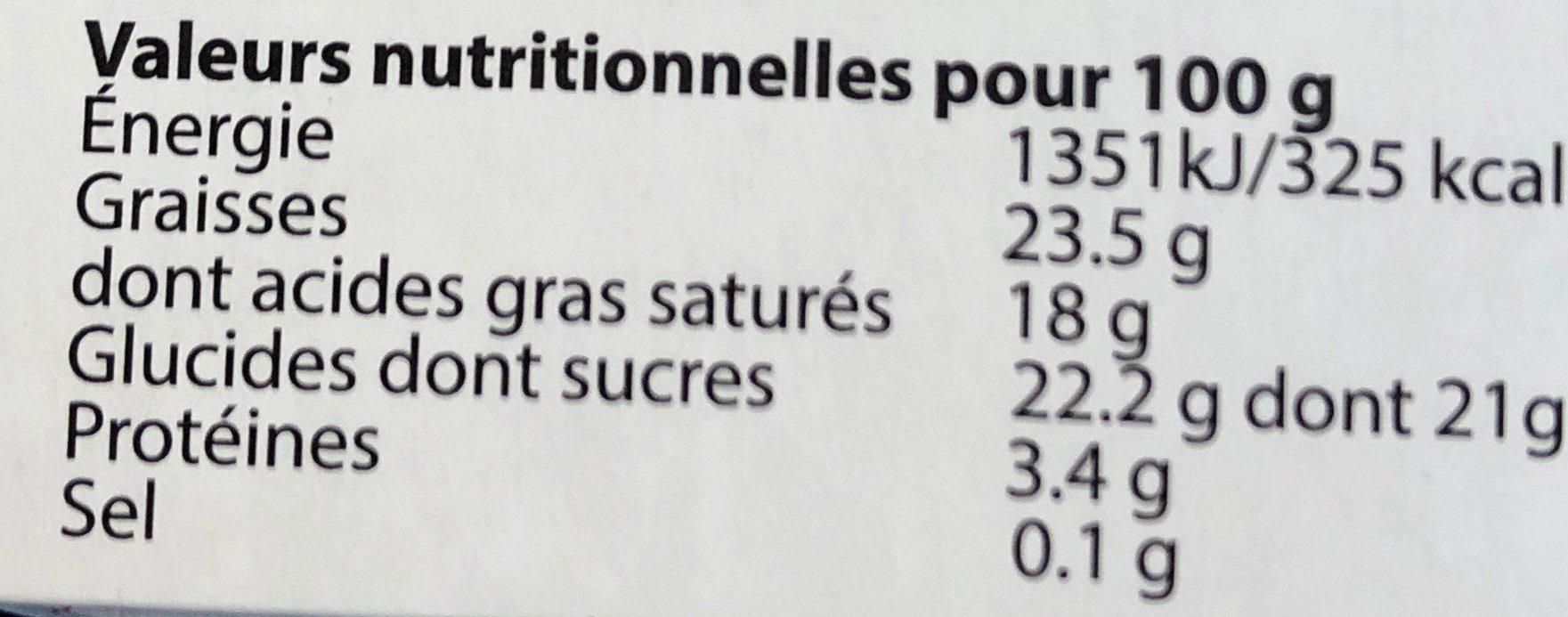 Mousse Chocolat Noir - Informations nutritionnelles