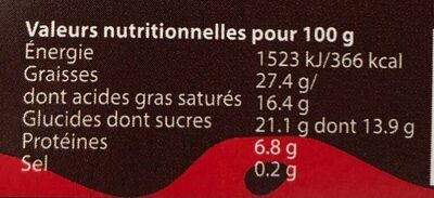 Mousse au chocolat noir - Nutrition facts