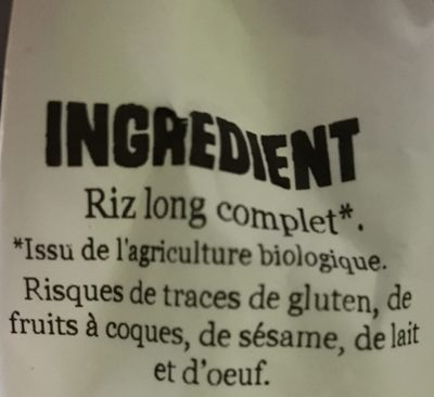 Biothentic Riz Long 1 / 2 Complet 1Kg - Ingredientes - fr