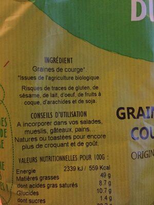 Graines de courge - Ingrédients