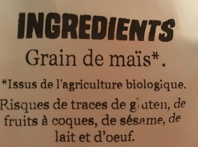 Maïs Pop Corn - Ingrediënten - fr