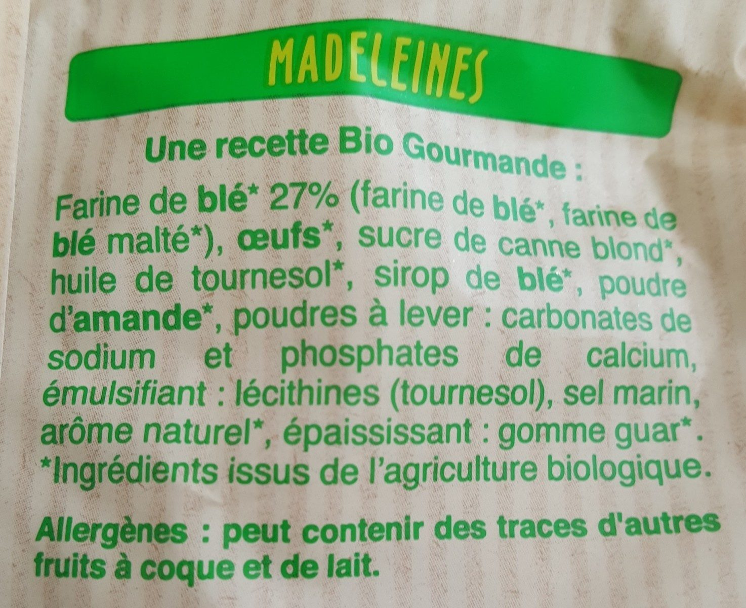 Madeleines - Ingredients