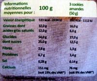 Cookies amandes chocolat - Voedingswaarden - fr