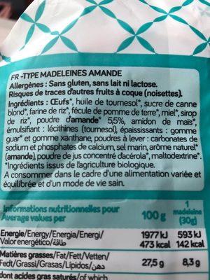 Madeleines amande - Ingrediënten - fr