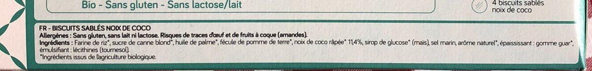 Sablés noix de coco bio VIADELICE - Ingrediënten - fr