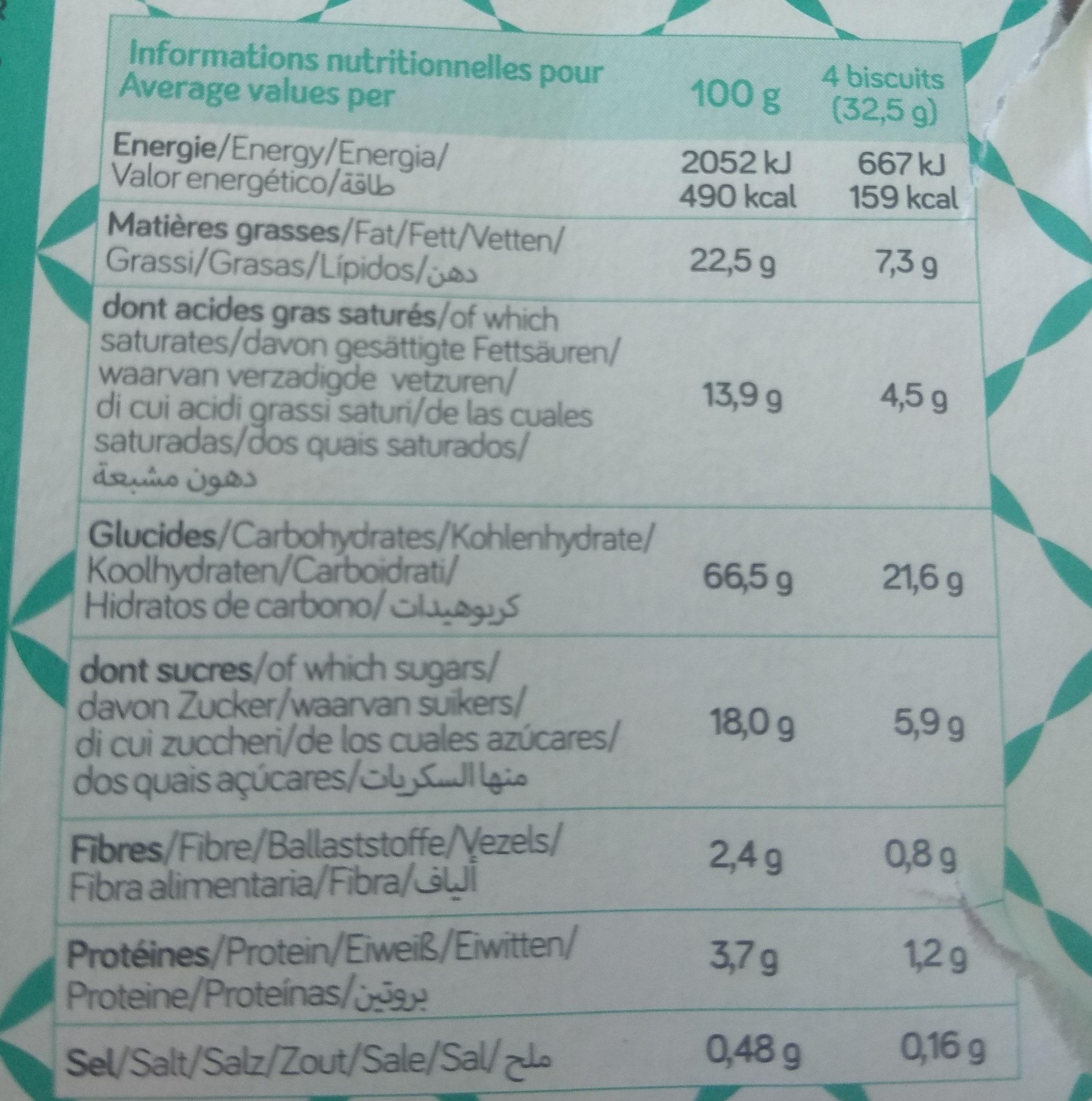 Sablés noix de coco bio VIADELICE - Voedingswaarden - fr