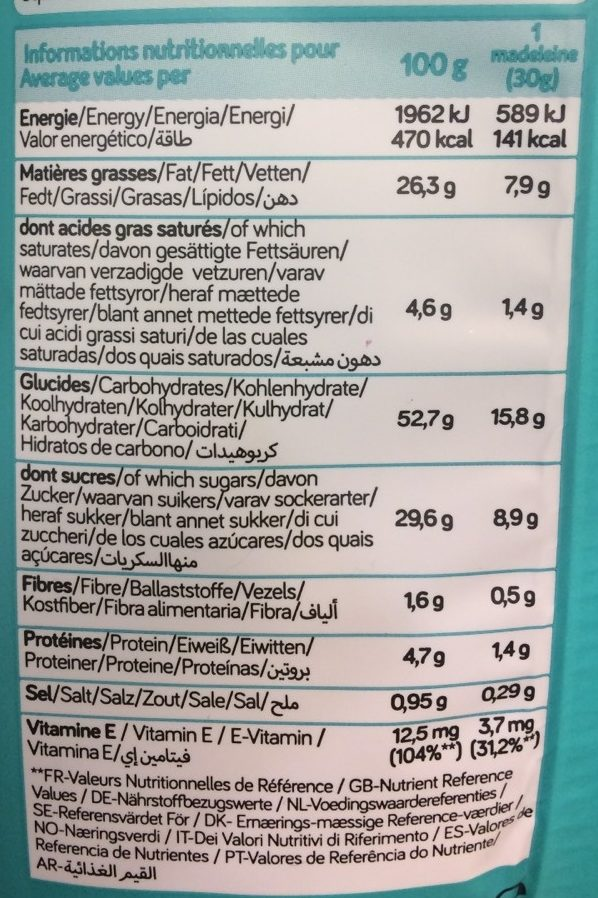 Madeleines pépites Chocolat - Nutrition facts