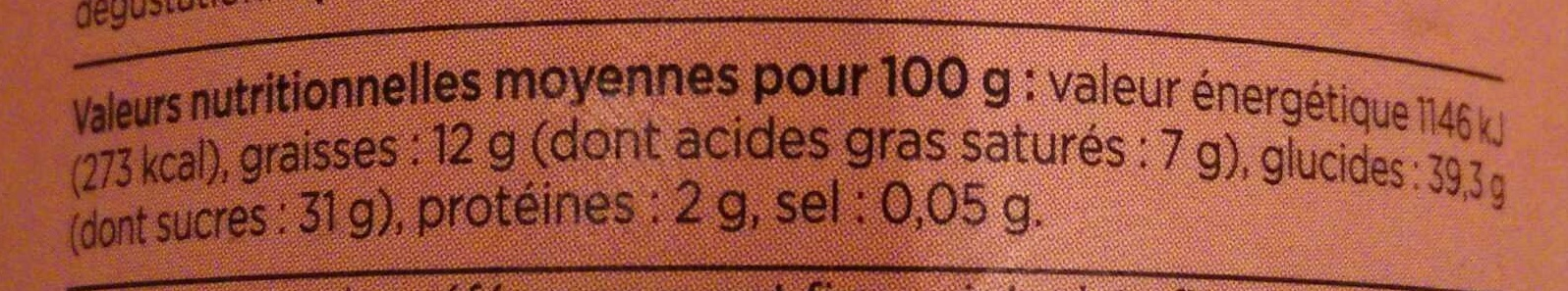 Angelina - Informations nutritionnelles