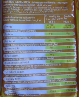 Chicken Flavor Noodles (Lot de 3) - Informations nutritionnelles