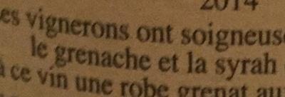 Côtes du Rhône 2014 - Ingrédients