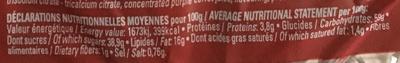 Moelleux fourré Fraise - Nutrition facts