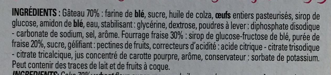 Moelleux fourrés fraise - Ingrédients - fr