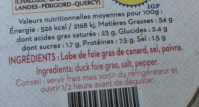Foie gras de canard entier du Sud-Ouest - Ingrédients - fr