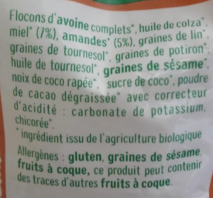 mon granola bio amande miel - Ingrédients - fr