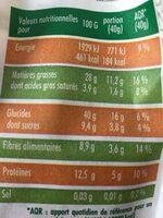 mon granola bio amande miel - Informations nutritionnelles - fr