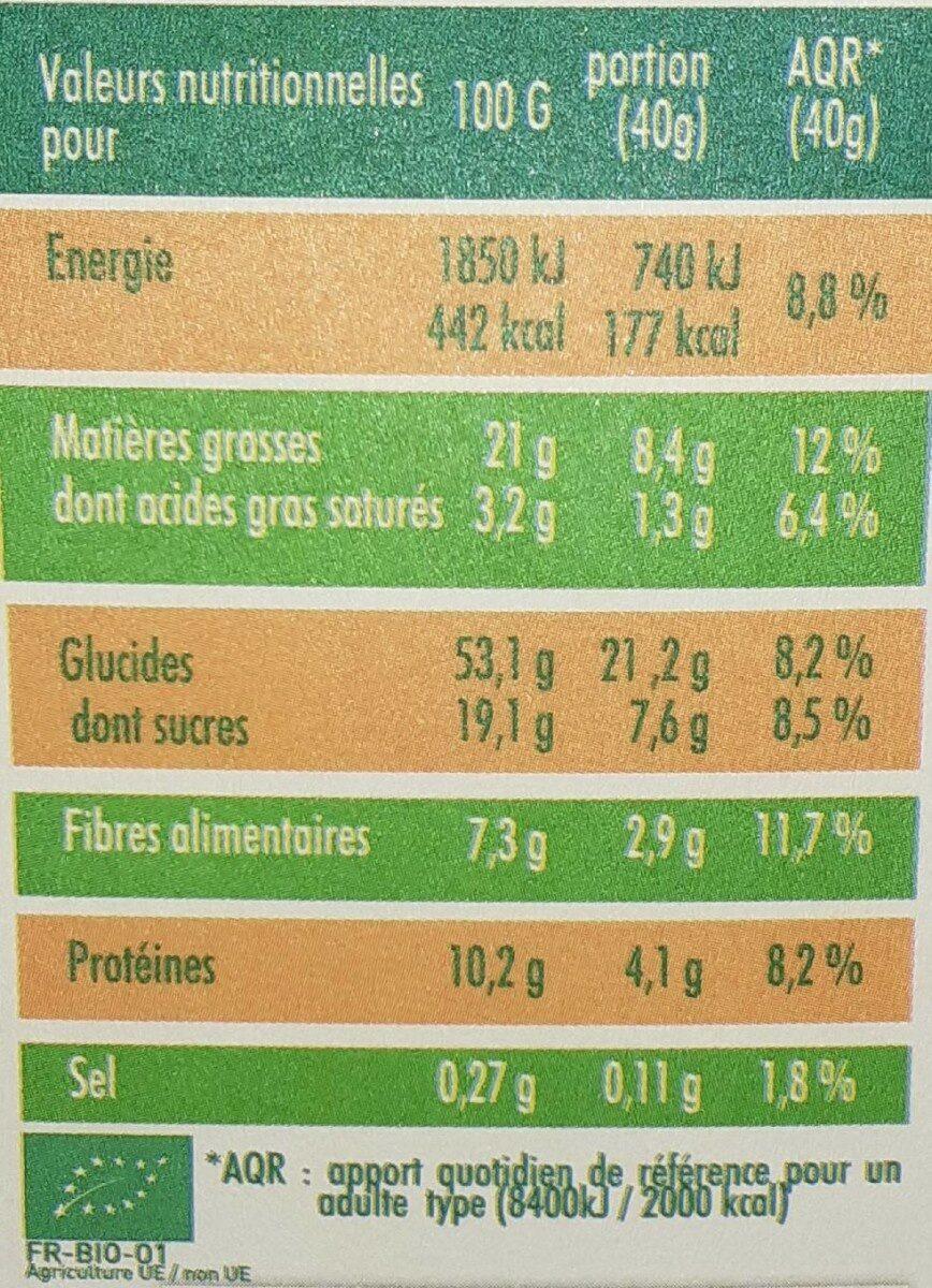 Mon petit dej nutrition bio chocolat - Informazioni nutrizionali - fr