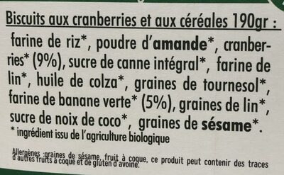 Mon petit dej nutrition Cranberries - Ingrediënten - fr