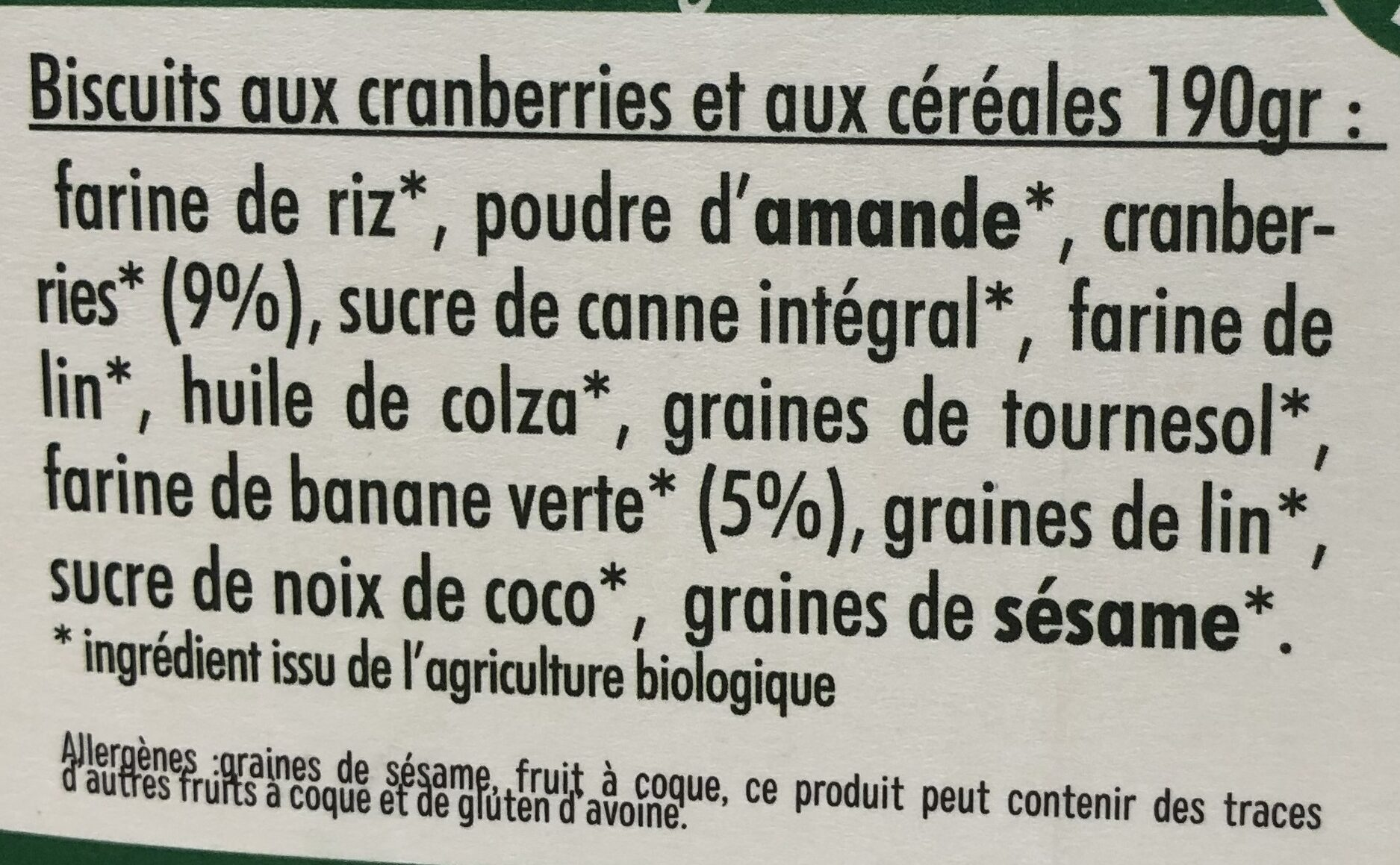 Mon Petit Dej Nutrition Bio Cranberries - Ingredients