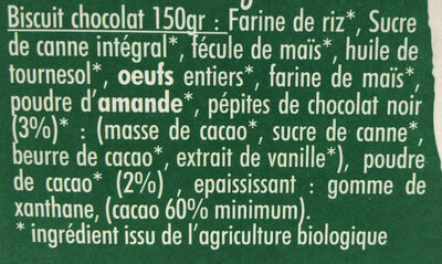 Mon Biscuit Bio Chocolat - Ingredients