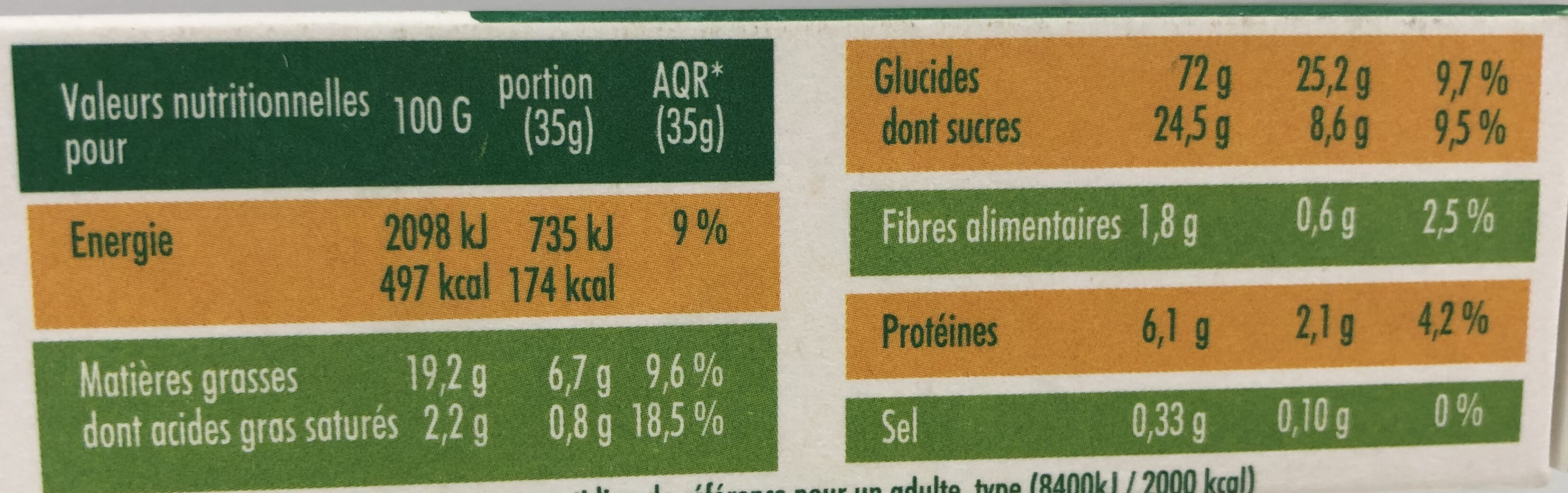 Mon Biscuit Bio Chocolat - Nutrition facts