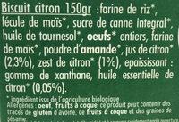Mon biscuit BIO citron - Ingredients - fr