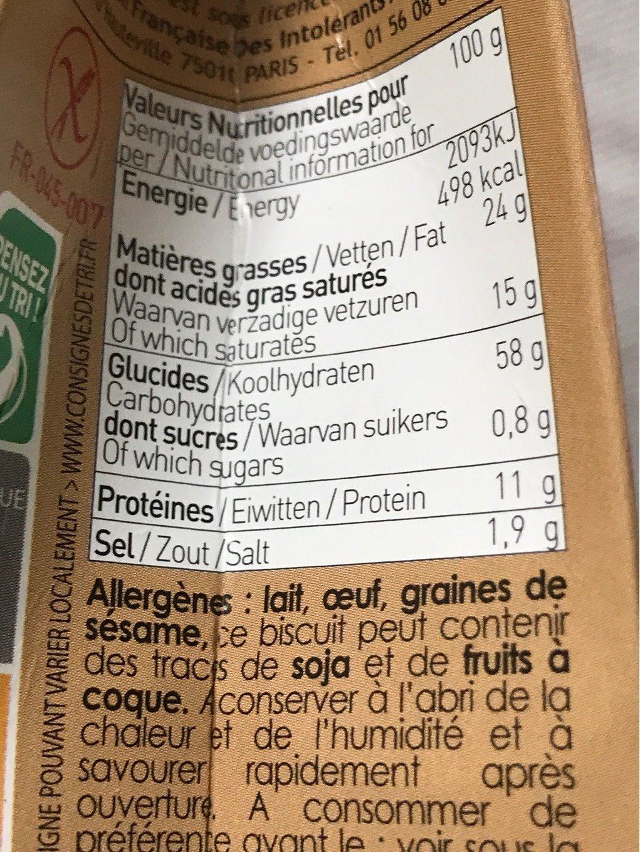 Sables aperitif emmental er graines - Informations nutritionnelles