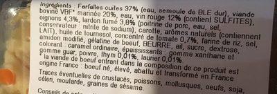 Bœuf Bourguignon & Farfalles - Ingrédients